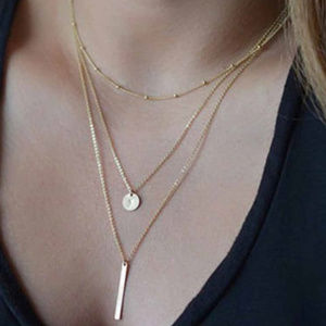 Multi Layer Bar Coin Gold Necklace